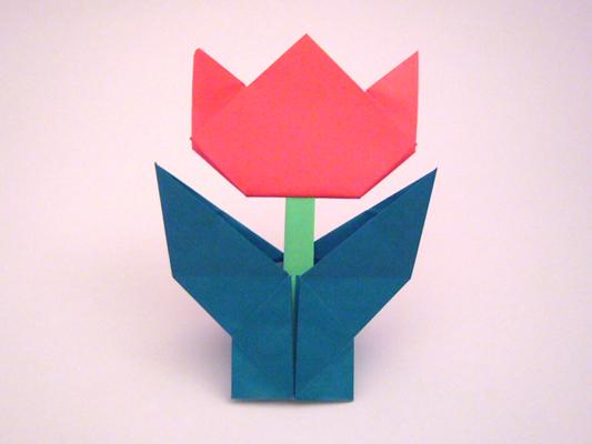 折り 折り紙:折り紙 チューリップ 立体 折り方-divulgando.net